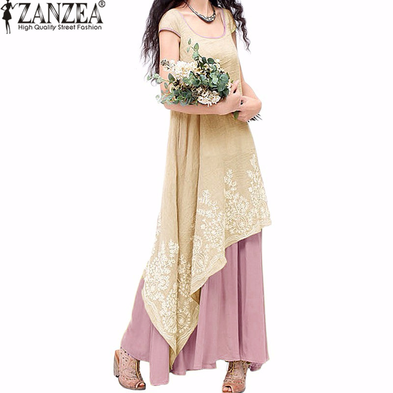 ZANZEA Women 2018 Summer Party Embroidery Long Maxi Dress Casual O Neck Short Sleeve Loose Cotton Linen Irregular Kaftan Vestido