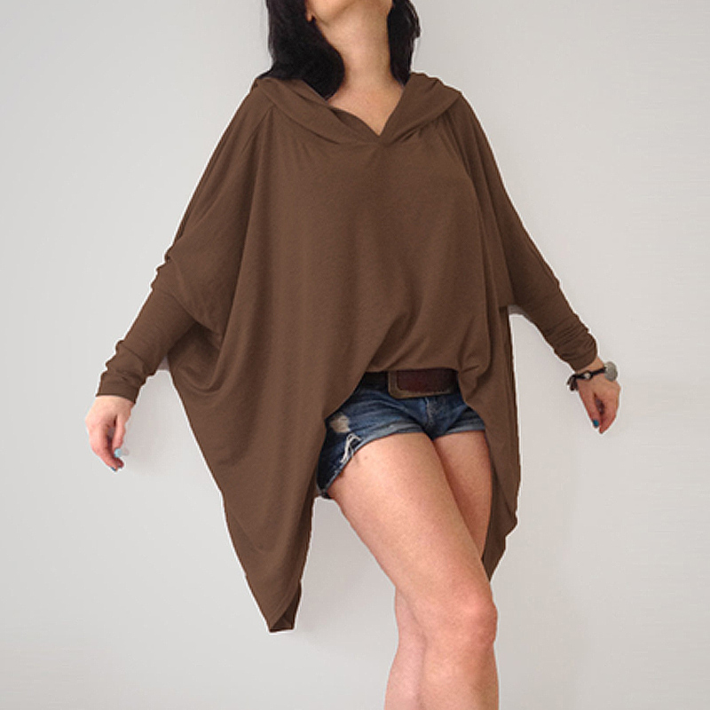 Fashion Ladies Autumn Hoddies Shirt Women Hooded Long Batwing Sleeve Casual Loose Solid Irregular Hem Blouse Party Top Blusas