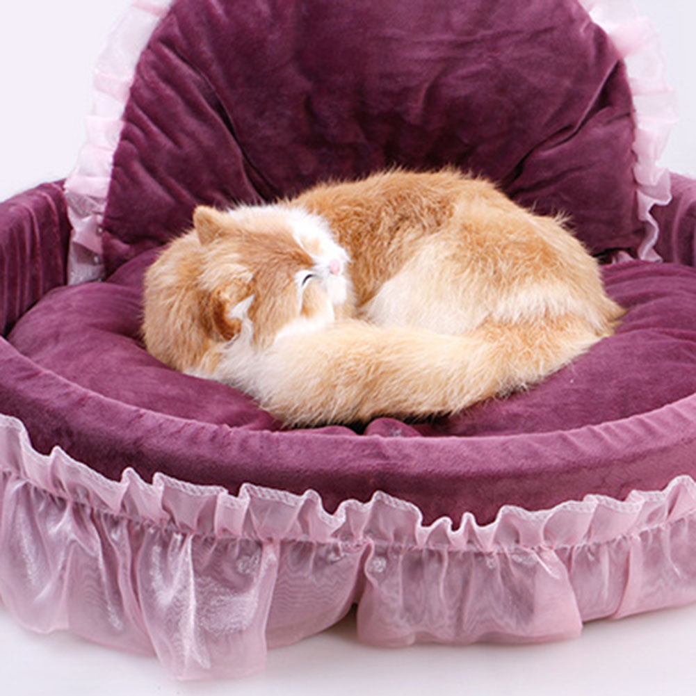 1 Pc Luxury Princess Cat Bed Puppy Bed Sofa Purple Pink Lace Cat House Small Dog Kennel Warm Soft Fleece New Pet Product