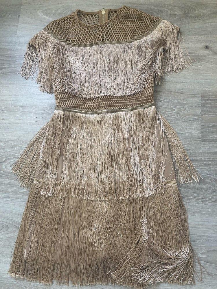 Fringe Dress Vintage Elegant Sexy Party Club Wear Beach Mesh Tight Streetwear Sundress Runway  Women Summer Dress  Tassel photo review