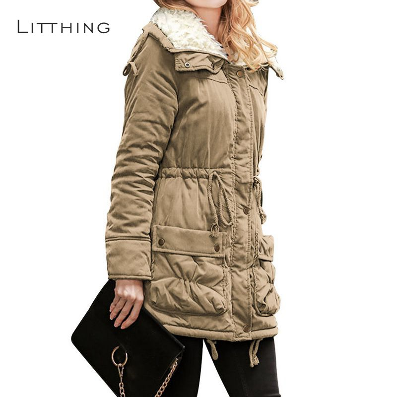 LITTHING Winter Cotton Coat Women Slim Snow Outwear Medium-long Wadded Jacket 2018 Thick Hooded Cotton Padded Warm Cotton   Parkas