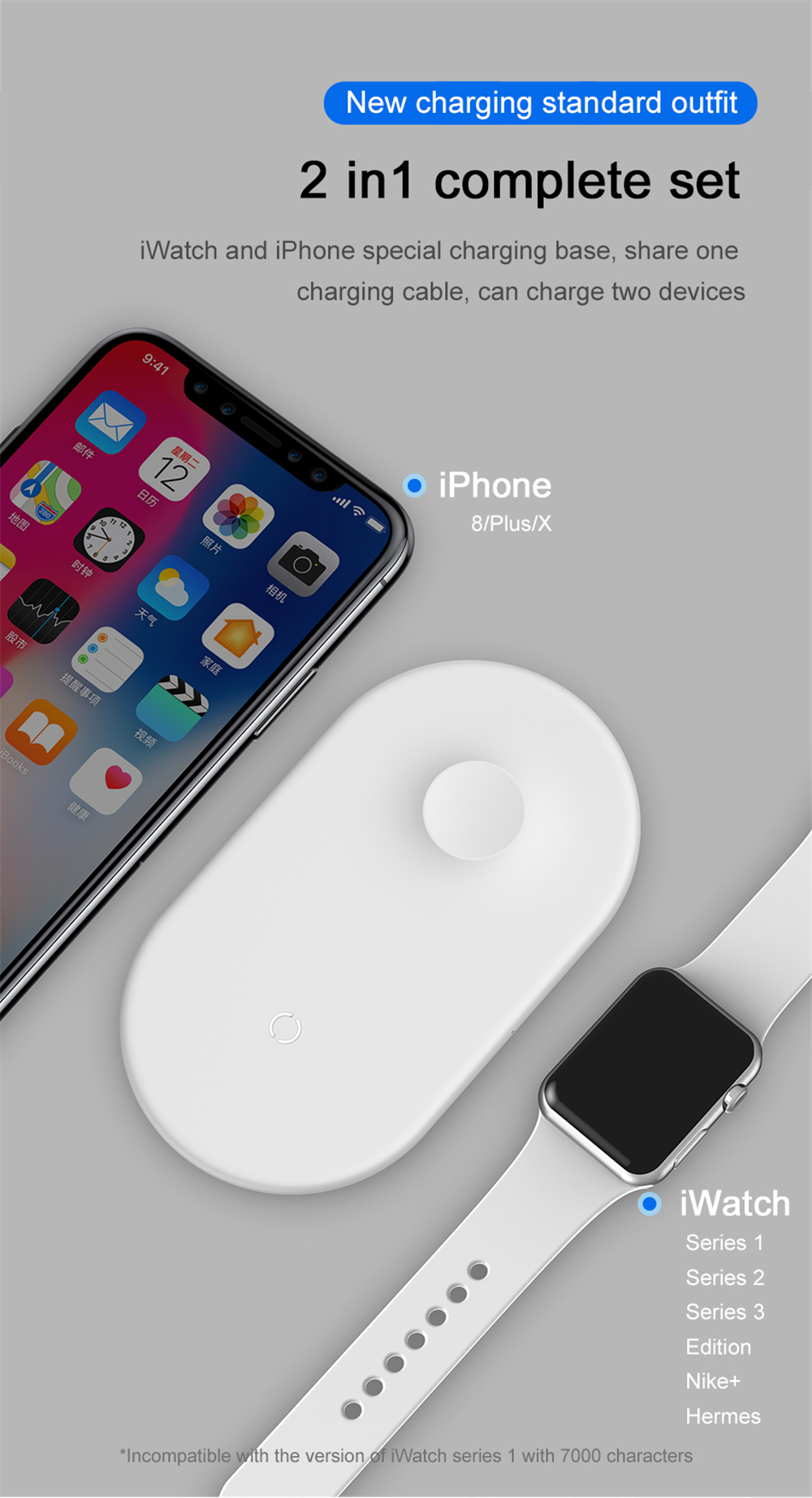 BASEUS BSWC-P19 Double Bases Smart 2-in-1 Wireless Charger Fast Charging Pad - White-4