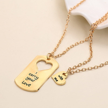 Fashion Handmade Chain I Carry Your Heart With Me Wedding Jewelry Love Heart Puzzle Pendant Necklace Chokers Couple Necklace Set