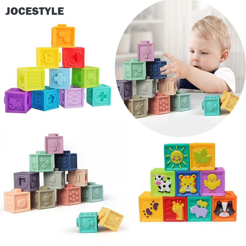 Children Kids Educational Toys Vinyl Embossed Building Blocks Toy Baby Hand Grasp Toy Soft Rubber Baby Massage Squeeze Bath Toy