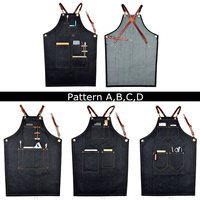 Universal Denim Bib Apron Leather Strap Barista Baker Working Uniform for Bartender Chef Cook Household Cleaning Tools 4 Types