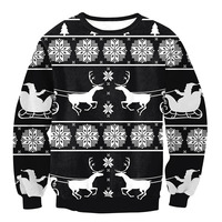 Ugly Christmas Santa Claus Printed Loose Sweater Unisex Men Women Pullover Autumn Winter Tops Xmas Clothing