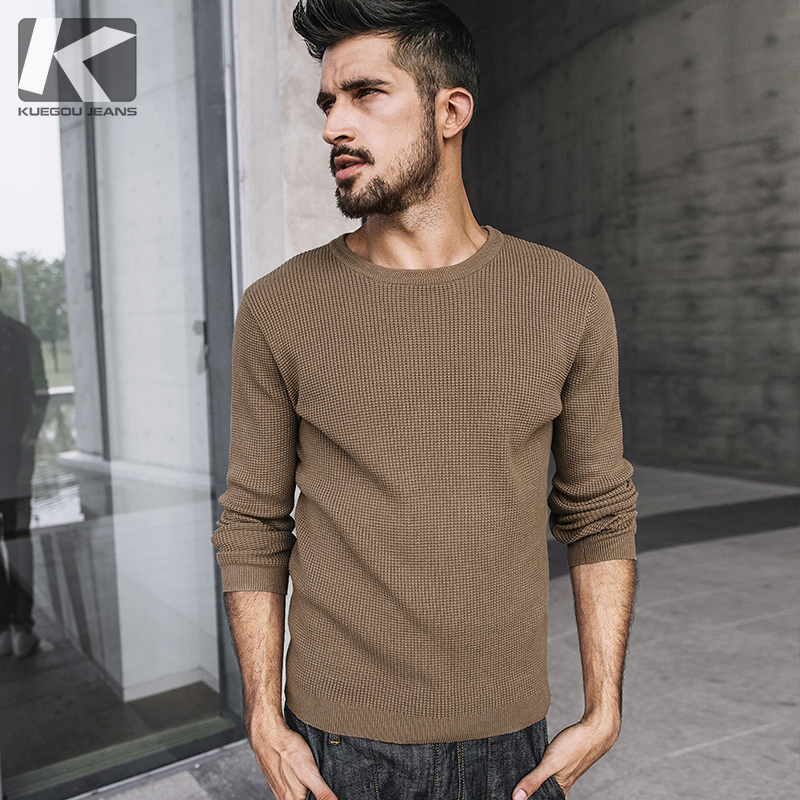 KUEGOU 2017 New Youth Men Sweater Fashion solid O-Neck Mens 100% Cotton Wool Pullover Men Sweaters 17002