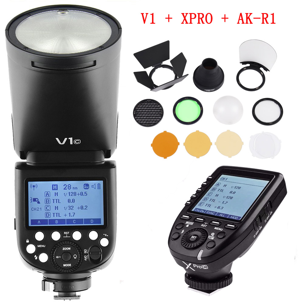 Godox V1 V1 N V1 C V1 S TTL Li ion Round Head Speedlight Flash for