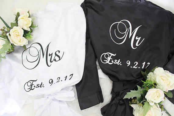 אישית מר וגברת פיג 'מה חלוק, סאטן robe, חלוק שלה, Mens קימונו, ירח דבש הלבשה תחתונה custom גלימות