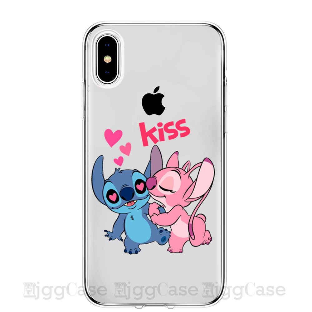 Dos desenhos animados bonito stich ponto telefone estojo para iphone 7 8 6s plus x xr xs max 5 5S se silicone macio tpu capa coque fundas