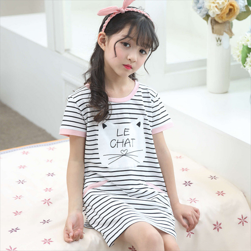 Family Matching Pajamas Mother Daughter Pajamas dress Kids Cotton Underwear Nightgown Pyjamas dress Mom Baby Cartoon Nightwear ...