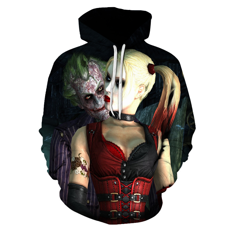New Anime Hoodies 2018 Funny Man 3d Costume Harley Quinn Suicide Squad Print Sweatshirt With Long Drawstring Winter For Women