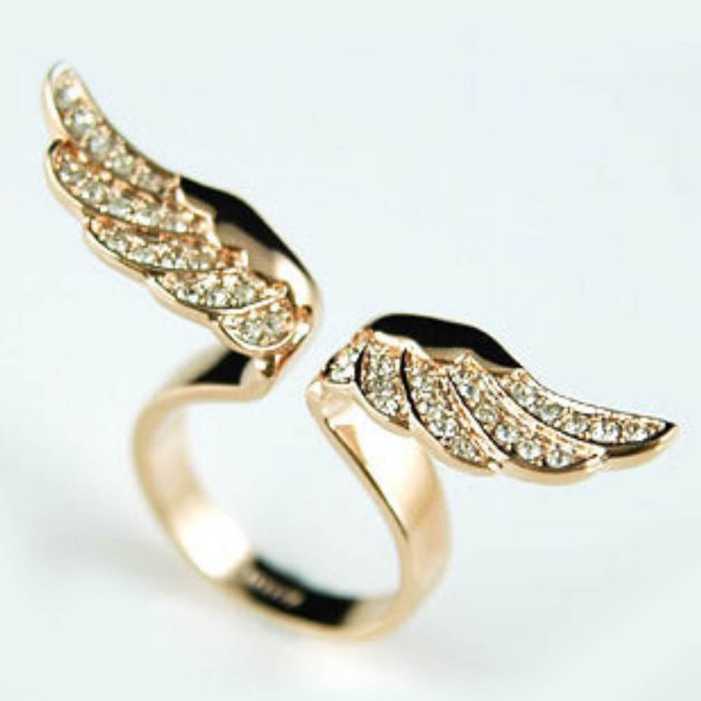 Golden Angel Wings Shaped Full Rhinestones Inlaid Lady Ring Drop ...