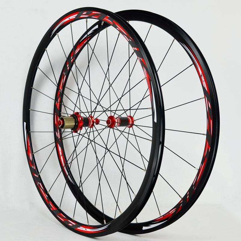 700C Carbon Fiber Wheels Road Bike Bicycle Wheel Light Carbon Wheelset  V/C Brakes 30MM Rim Direct-pull Stainless Steel Spoke