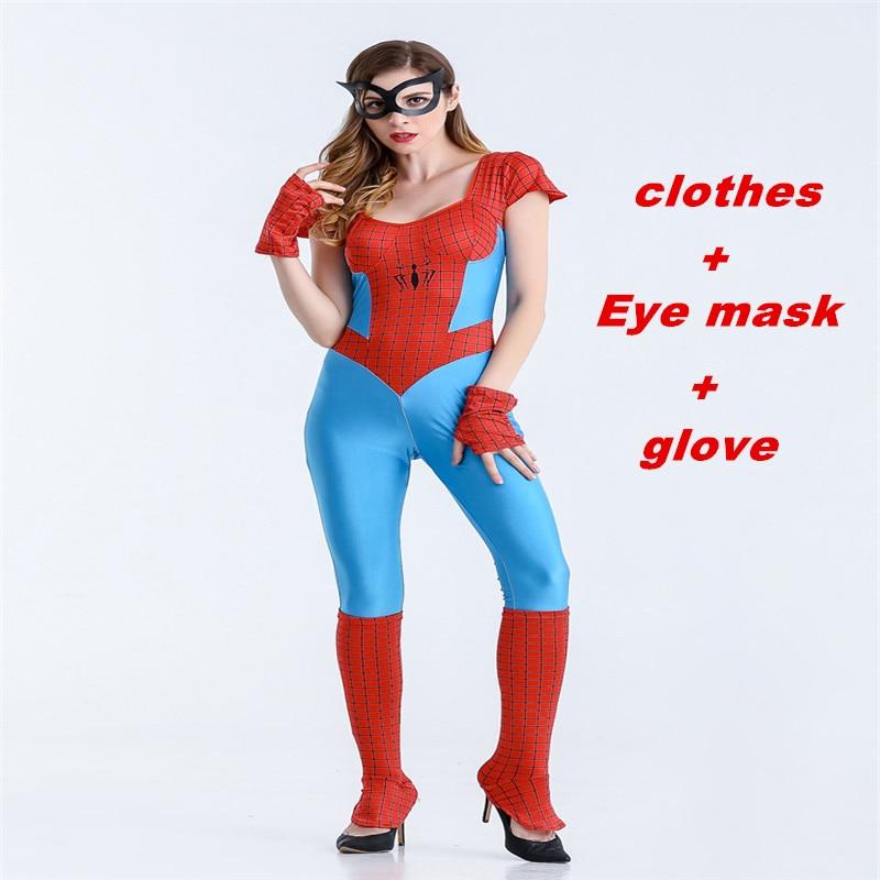 Halloween cosplay Lady Spiderman: Return to the Super Heroes Zentai Iron Spider-Man Womens Bodysuit Party Set