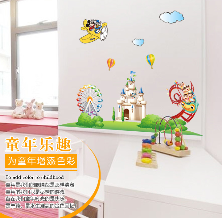 Cartoon Mickey Mouse Minnie Castle Wall Sticker Home Decoration Wall Decals  For Kids Room Kindergarten Removable Wallpaper  In Wall Stickers From Home  ...