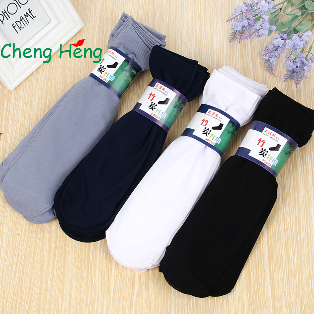 CHENGHENG 10 Pairs/Bag Style Hot Sale Summer Mens Socks Fashion Breathable Mens Rayon Socks Thin Section Style Stripes Socks
