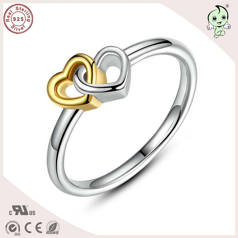 P&R products Hot Sale High Quality Romantic 925 Sterling Silver Heart By Heart Wedding Ring for women