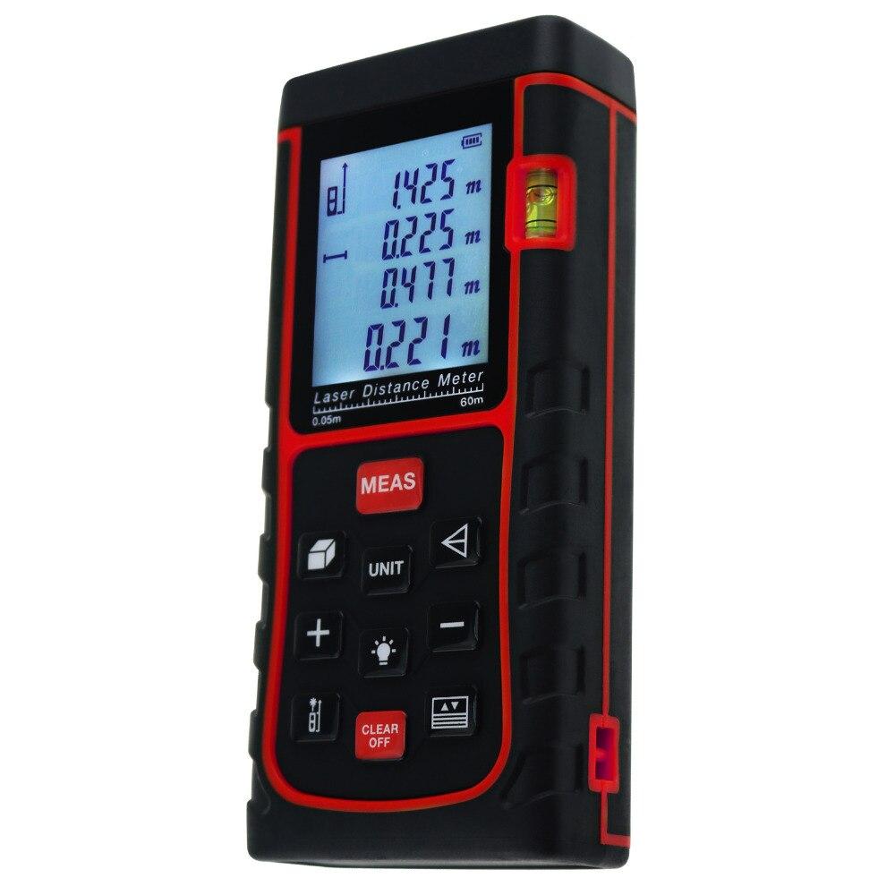 Industrial Digital 60 Meter Laser Distance Area Volume Pythagorean w/ Spirit Level 60M/196ft Tester Construction Use Tool|level float|tool shows|level meter - title=