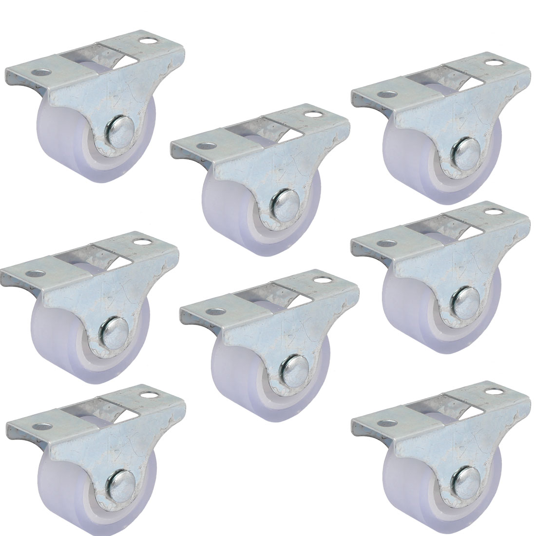 UXCELL Furniture Trolley Iron Top Plate Silent Pvc Fixed Caster Wheel 1 Inch Dia 8Pcs