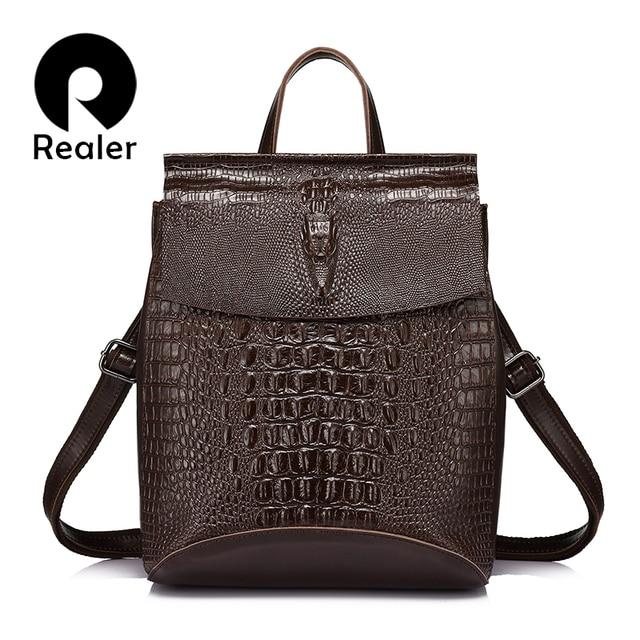 REALER женский рюкзак из сплит кожи с крокодиловым принтом, рюкзак школьный для девочек подростков, а так же сумка как сумка через плечо для женщин