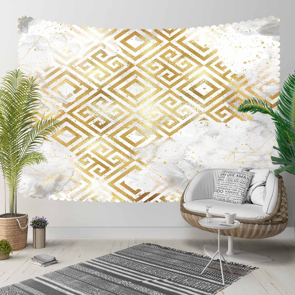 Else Gray White Clouds Geometric Yellow Lock Nordec 3D Print Decorative Hippi Bohemian Wall Hanging Landscape Tapestry Wall Art