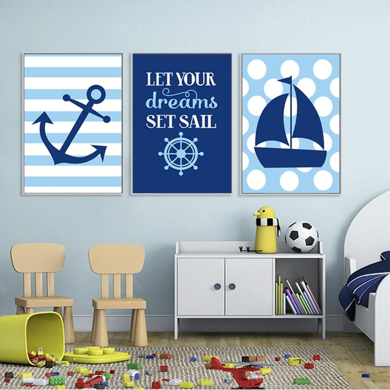 € 3.21 49% de réduction|Bleu marine nautique voilier ancre pépinière décor  toile peinture mur Art affiche imprimer des images pour enfants chambre ...