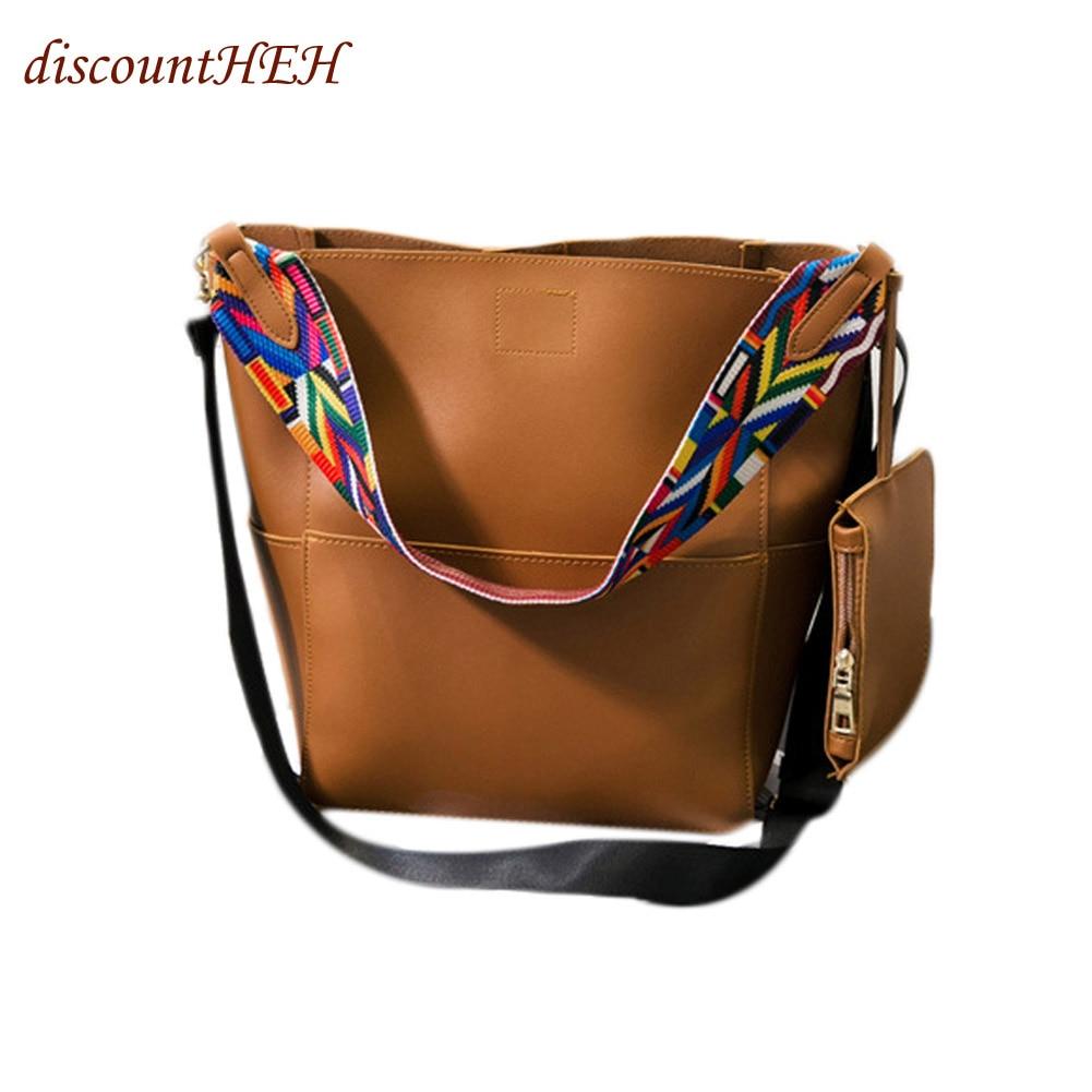 921809f7155d US $14.35 |Handbag Large Capacity Crossbody Bag Color 4 Brand Designer  Bucket Bag Women Leather Wide Strap Shoulder Bag-in Shoulder Bags from  Luggage ...