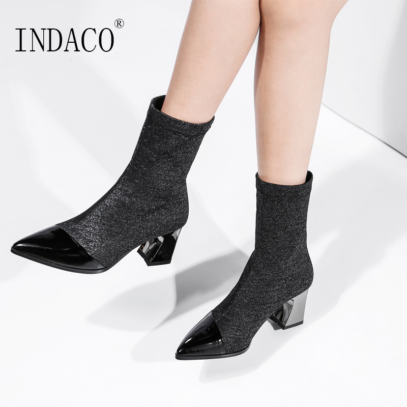 Autumn Socks Boots Leather Stretch Fabric Mid High Boots Breathable 7cm Big Size Shoes Women mid size