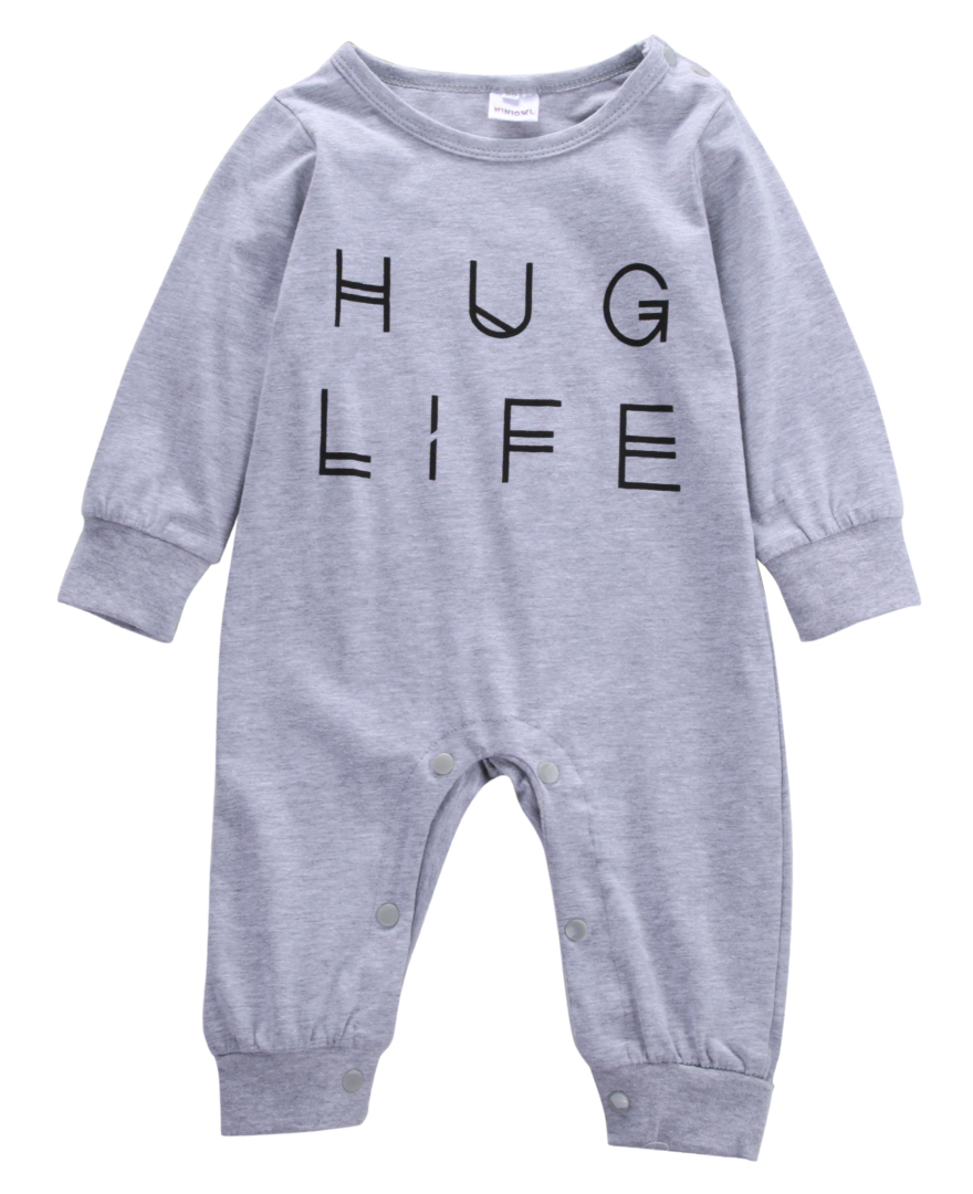 Infant Newborn Baby Kids Boys Girls Letters Cotton Long Sleeves Rompers One Piece Jumpsuit Outfits Clothes