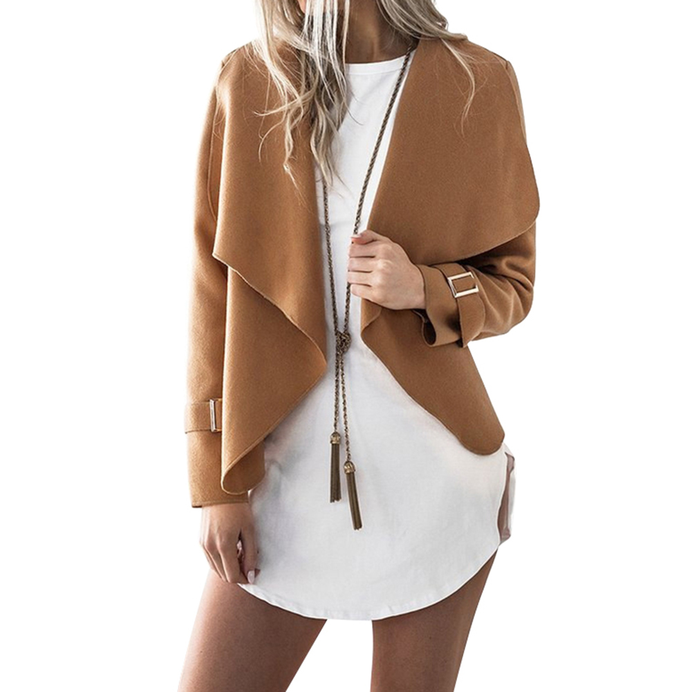 Lapel Autumn Women's   Jacket   Short Style Casual Outwear Coat Solid Color Special Open Stitch Lady   Jackets   Coat Women   Basic     Jacket