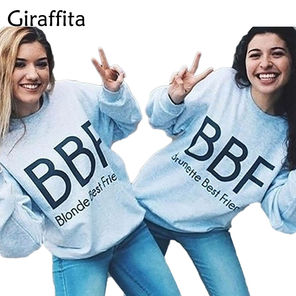 Giraffita 1Pcs Women Couple Best Friends Hoodies Lovers Unisex Harajuku Cartoon Gray Sweatshirt Moletom Letter Printed Pullovers