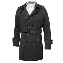 Winter Men Casual Outerwear Windproof Jacket Thick Long Trench Coat Warm Jacket 2017 Mens Double-breasted Peacoat Slim Overcoat