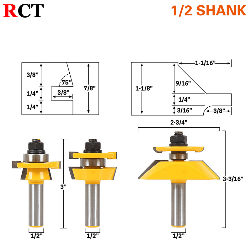 Shaker 3 Bit Cabinet Door Router Bit Set - 1/2 Shank Woodworking cutter Tenon Cutter for Woodworking Tools RCT 1pcs 8mm shank entry door for long tenons router bit woodworking cutter woodworking bits tenon cutter for woodworking tools