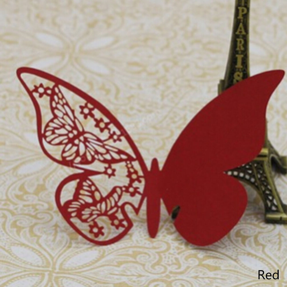 unids encantadora mariposa wine glass copa tarjeta de papel para el banquete de boda