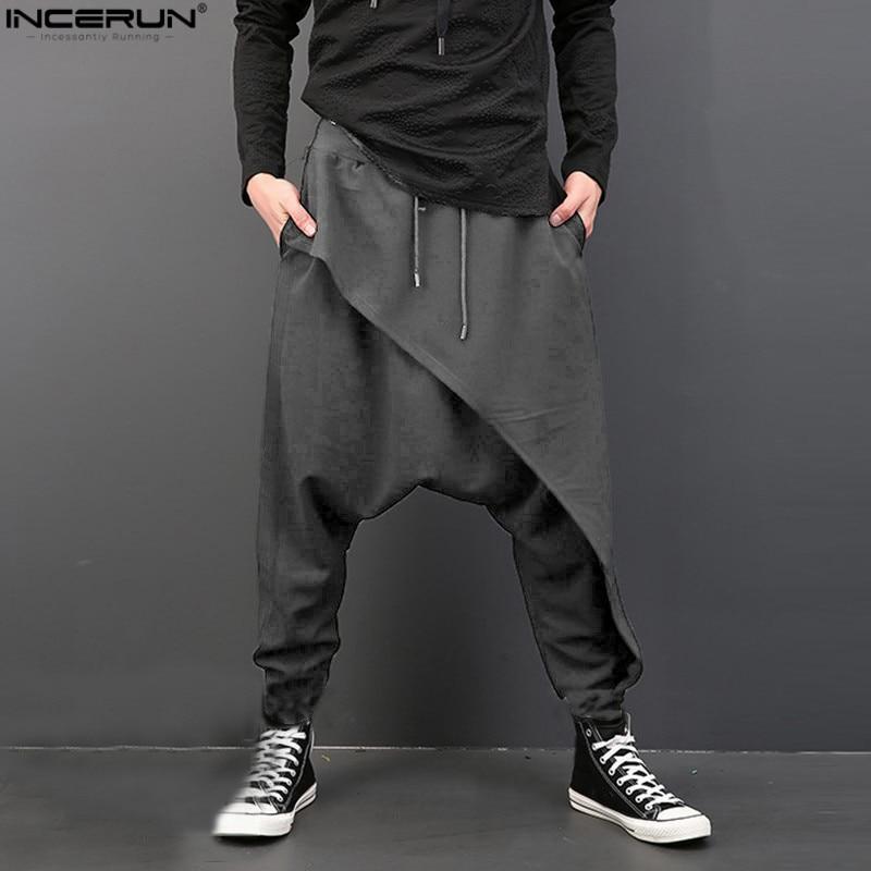 INCERUN Fashion Baggy Pants Men Loose Drop Crotch Trousers Hip-hop Dancing Pants Mens Harem Pants Pantalon Hombre Plus Size