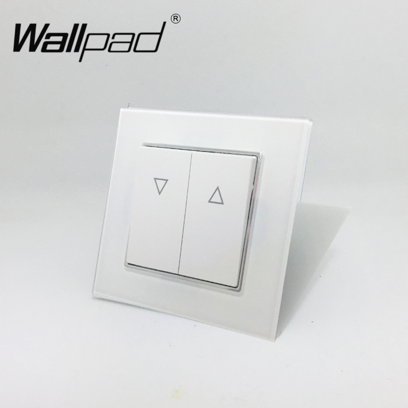 2 Button Curtain Switch Wallpad 110-250V White Luxury Glass EU European Style Reset Curtain Window Blind Switch with Claws Back