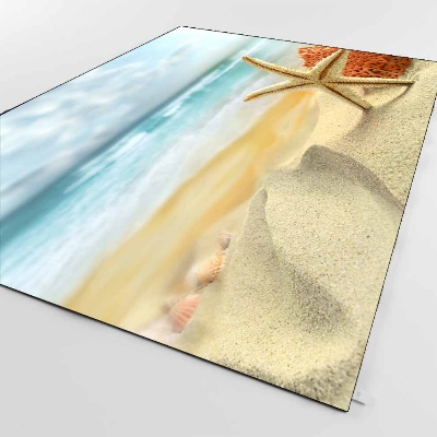 Else Tropical Sea Star Cream Beach Sands Nature 3d Print Non Slip Microfiber Living Room Decorative Modern Washable Area Rug Mat