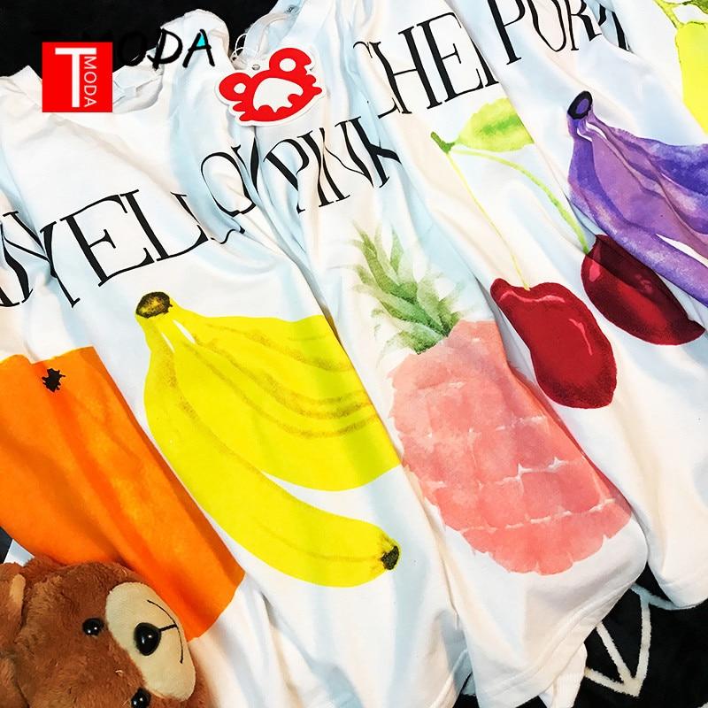 2018 אופנה בננה מודפס לבן חולצות Tees חמוד פירות מודפס T חולצה מזדמן נשים בתוספת גודל חולצה