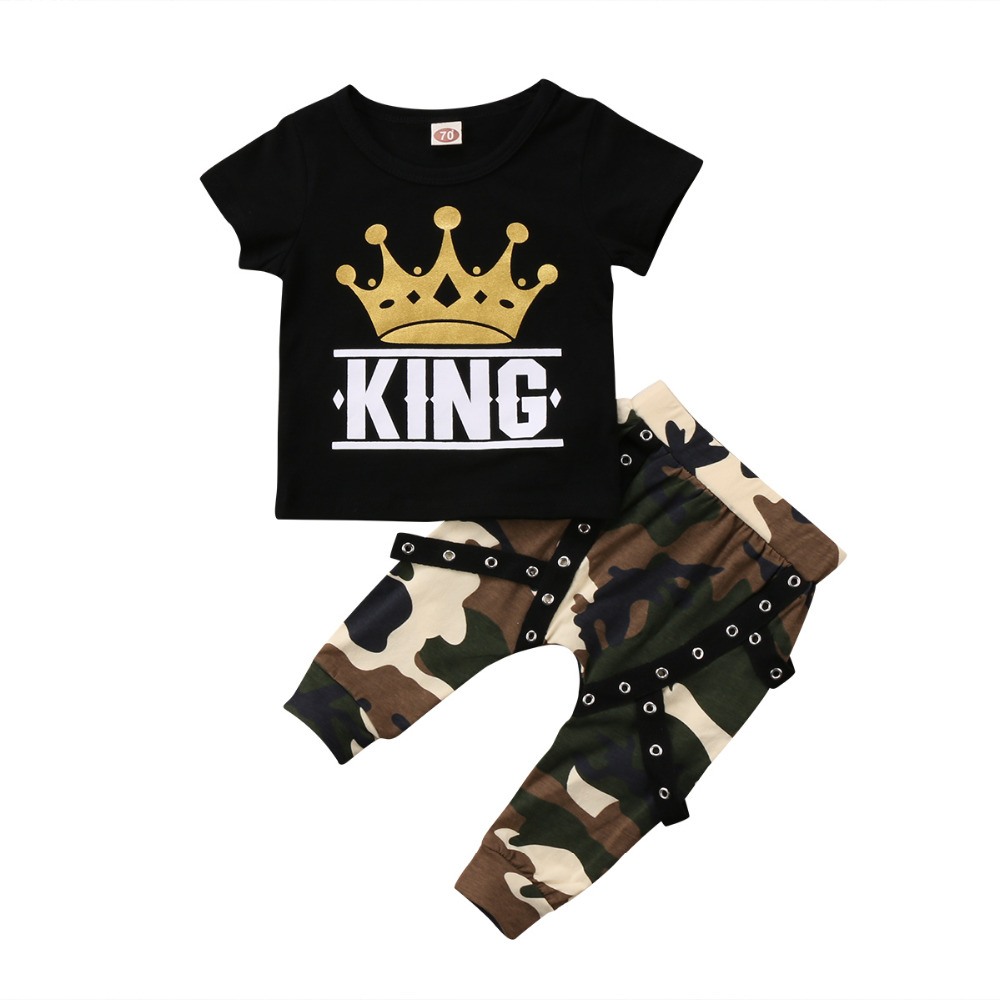 2 Pieces Kid Short Sleeve King Print T Shirt Top And Camouflage Pants Set For Toddler And Baby Boys Clothes