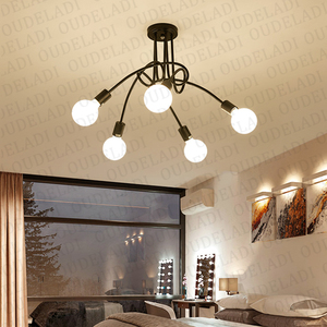 Image 2 - American wrought iron LED Ceiling Lights living room modern E27 ceiling lamp decoration home lighting white black Lamps
