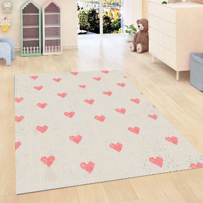 Else Gray Floor On Pink Hearts Love Kids Room 3d Print Non Slip Microfiber Children Kids Room Decorative Area Rug Mat