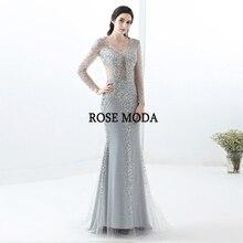 Rose Moda Lange Ärmeln Abendkleider 2018 Silber Navy Gold Kristall  Meerjungfrau Abendkleid Lange(China) 28cc121ddc