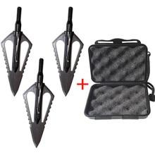 3 uds punta de flecha de caza de acero de 100gr punta de flecha de punta ancha puntas de tiro compuesto de ballesta cabeza de arco recurvo con 1 caja