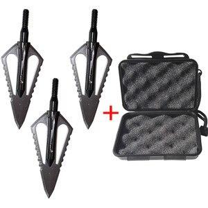 Image 1 - 3 uds punta de flecha de caza de acero de 100gr punta de flecha de punta ancha puntas de tiro compuesto de ballesta cabeza de arco recurvo con 1 caja