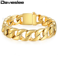 13mm Wide Heavy Silver Gold Tone Curb Cuban Mens Boys 316L Stainless Steel Bracelet Wholesale Jewelry