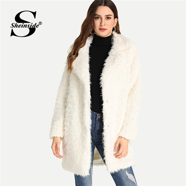 b1cfb41c8266 Sheinside White Open Front Faux Fur Coat Women Party Cardigan Outerwear  Thicken Winter Womens Clothes 2018