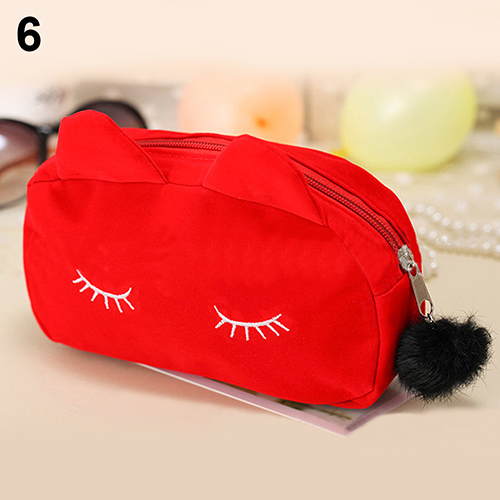 2017 Portable Cartoon Cat Coin Storage Case Travel Makeup Pouch Soft Cosmetic Bag portable cartoon cat coin storage case travel makeup flannel pouch cosmetic bag bs88