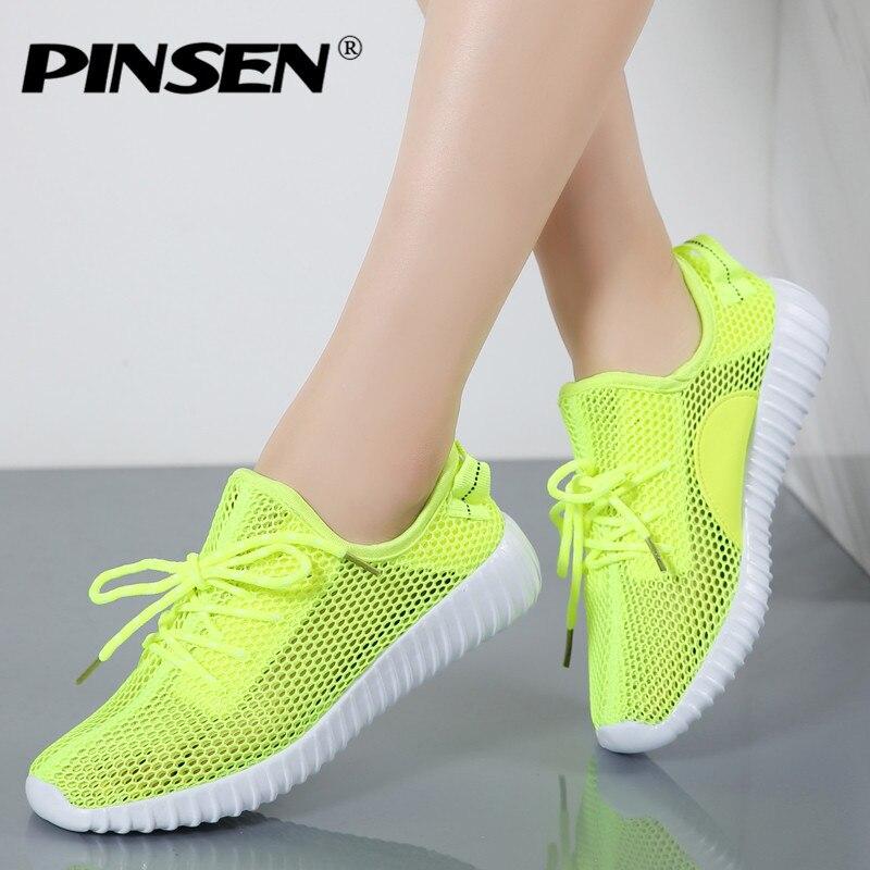 Pinsen Лето Спортивная обувь модная женская обувь Туфли без каблуков Повседневное сетчатые балетки дизайнерские женские лоферы для Для женщин Zapatillas Mujer