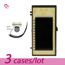 J&S 3trays/Lot,saving time,high-quality mink oval flat eyelash extension ,ellipse lashes,groove lashes